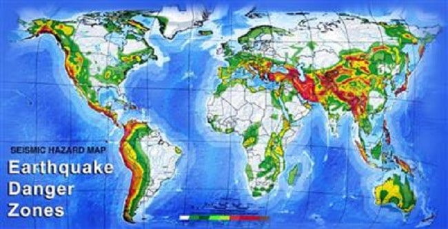 نقشه جهانی مناطق زلزله خیز جهان به گفته worldmap