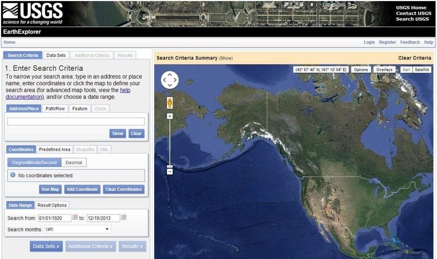وبسایت USGS جهت دانلود تصاویر ماهواره ای با رزولوشن بالا