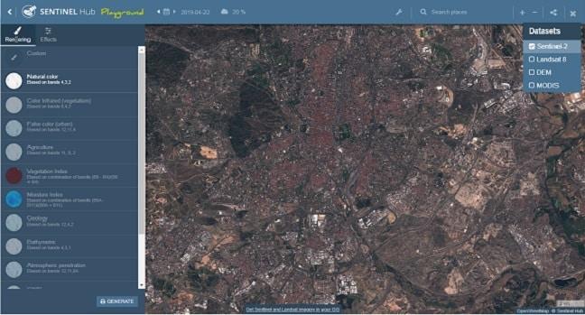 نمایی ازداده هایی از ماهواره های موجود در سایت sentinel-hube