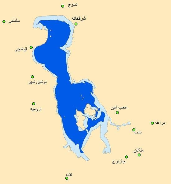 افزایش پهنه آبی دریاچه ارومیه در سال اخیر نسبت به سال گذشته (جزایر کبودان، اشک، آرزو و اسپیر)
