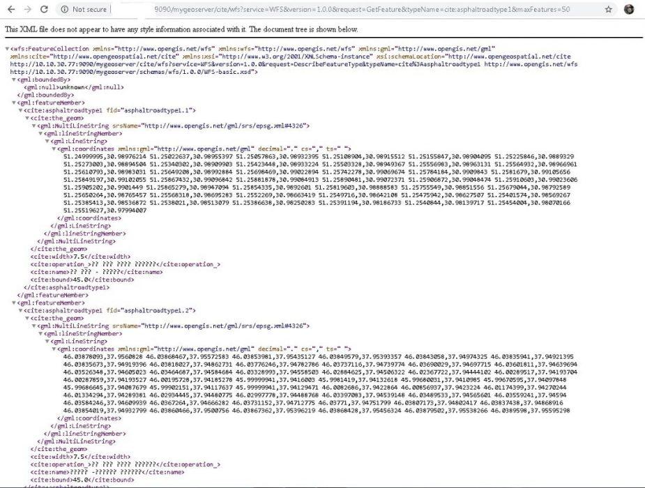 نمونه یک wfs در نرم افزار ژئوسرور