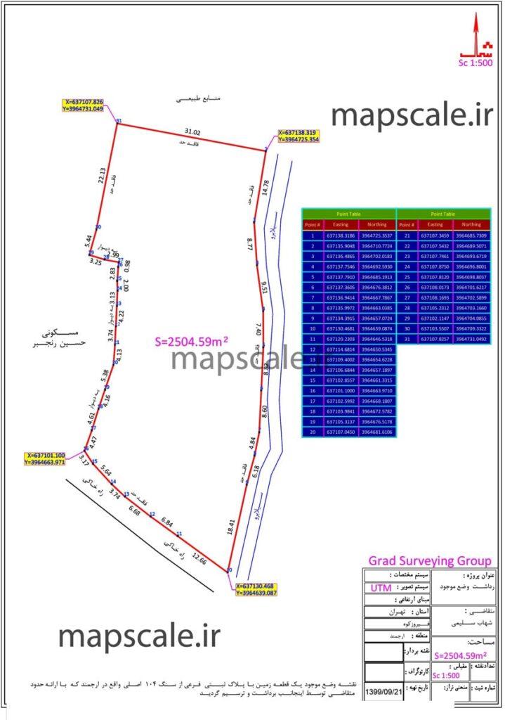 نمونه نقشه یو تی زمین کشاورزی